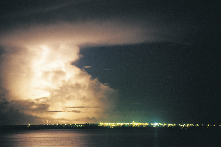 Wet Season lightning strikes over Darwin Harbour