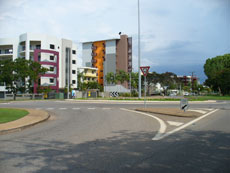 A view down Smith Street in Darwin at the roundabout to Skycity Casino and Fannie Bay and Parap.